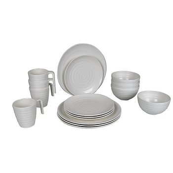 Bo-Camp - Servies - 100% Melamine - 16-delig - Stone - Naturel